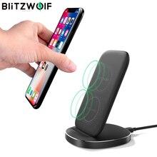 Blitzwolf FWC6 10W 7.5W 5W Dual Coils Qi Smart Draadloze Snelle Charger Stand Houder Voor Iphone 12 pro Max Voor Samsung Voor Huawei