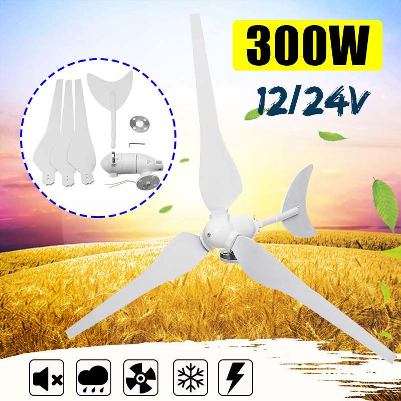 Générateur éolien AC12V/24 V générateur d'éoliennes 300W avec 3 lames en Fiber de Nylon pour réverbère solaire domestique, bateau