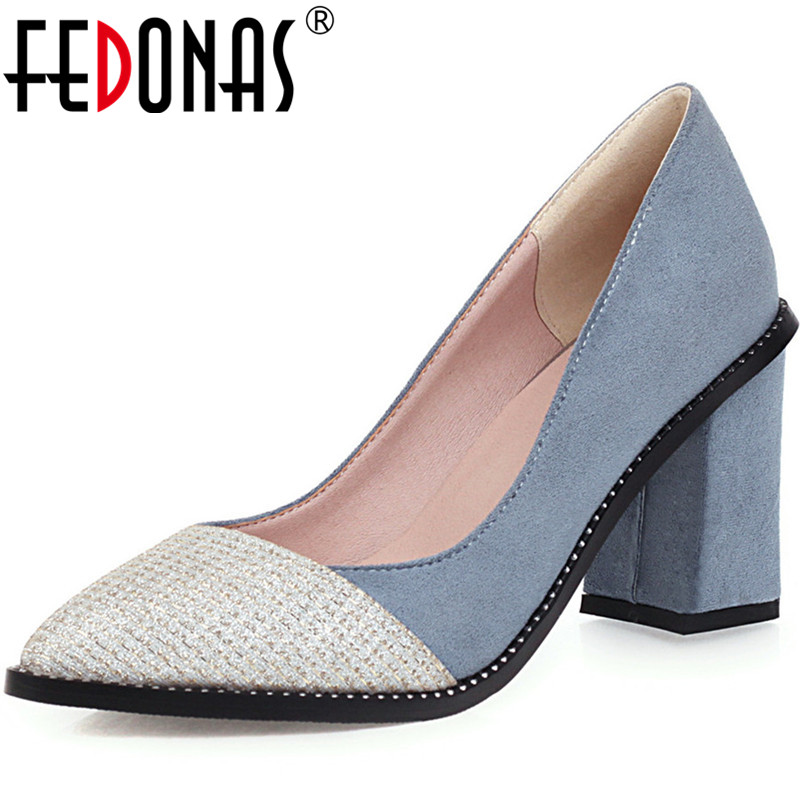 FEDONAS Fashion Point Toe Women Square Heeled Pumps Rivets Color Matching Prom Wedding Shoes Spring Summer New 2020 Shoes Woman