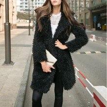 woman long coats winter 2018 black korean coat vintage polyester open stitch loose clothing 2019 ladies fashion