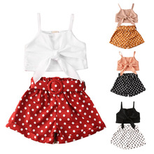 1-6Y Fashion Infant Baby Clothes Sets Summer Girls Polka Dot Print Bowknot Sleeveless Vest+Shorts With Belt 2pcs Kids Child
