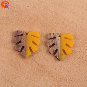Image 5 - Cordial Design 30Pcs 28*30MM Jewelry Accessories/DIY Earrings Making/Leaf Shape/Natural Wood & Resin/Hand Made/Earring Findings