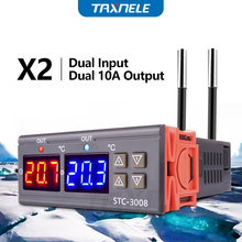 STC 3008  Dual Digital Temperature Controller Two Relay Output 12V 24V 220V Thermoregulator Thermostat Heater Cooler dual probe