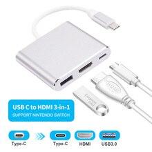 Adaptador convertidor de carga USB HDMI tipo c Hdmi 3,0, tipo C a HDMI, USB 3,0, tipo c, concentrador de aluminio para Macbook, adaptador de teléfono inteligente