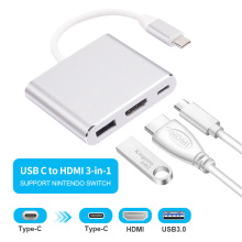 USB HDMI Type c Hdmi 3.0 charging converter Adapter Type C to HDMI USB 3.0 Type C aluminum hub for Macbook adapter smartphone