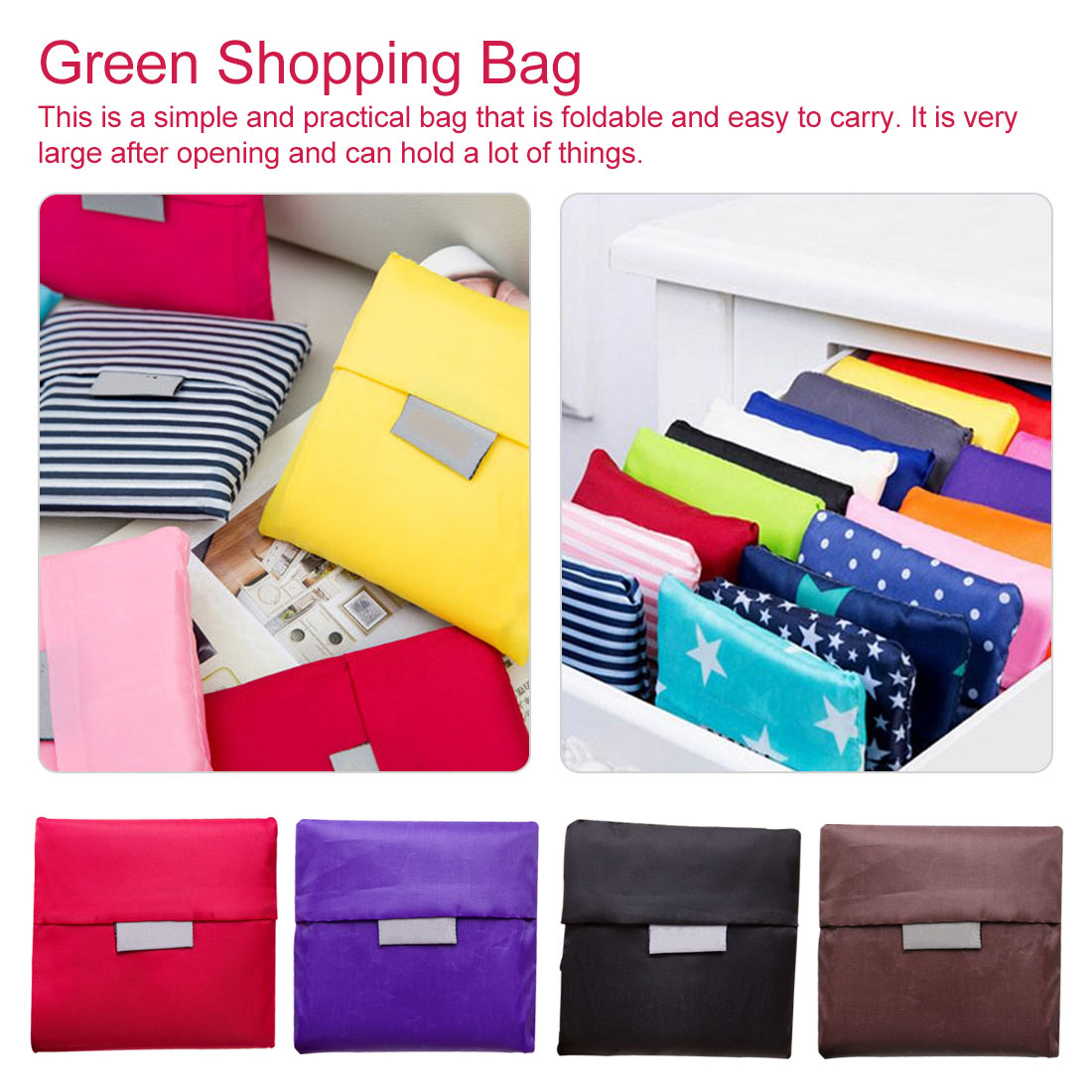 Printing Foldable Green Shopping Bag Folding Pouch Handbags Large-capacity Storage Bags Reusable Foldable Shopping Bag