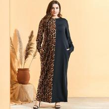 Mulheres abayas vestido muçulmano dubai abaya leopardo retalhos com bolso kaftan islâmico árabe vestidos 3xl 4xl