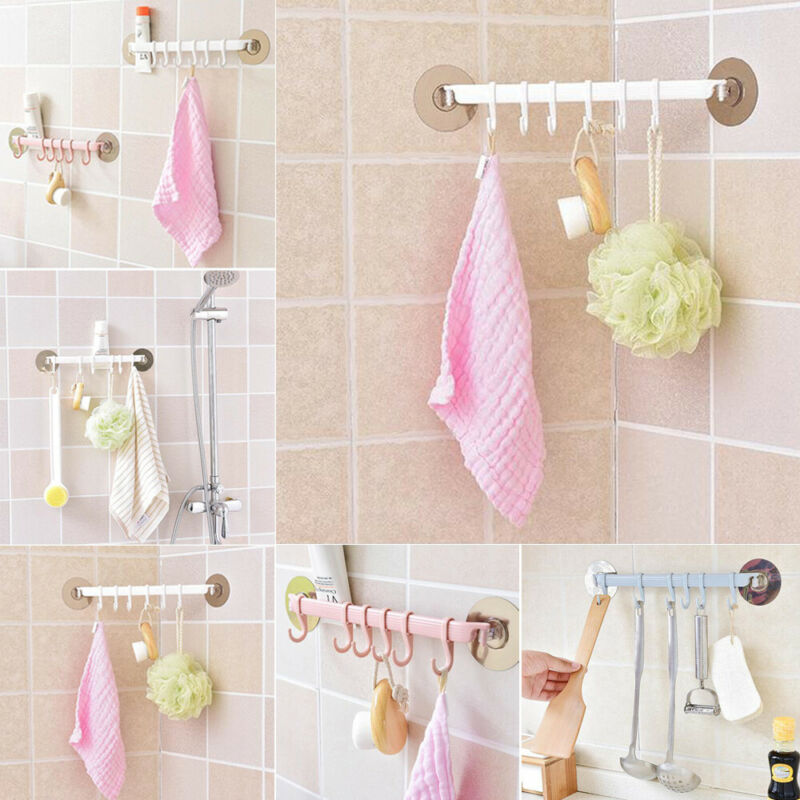 6 Hook Utensil Hanging Rail Rack Organizer Wall Mounted Plastic Kitchen Bathroom