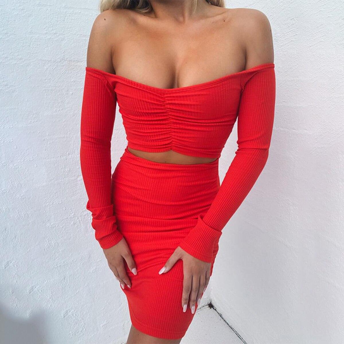 Red Sexy Slim Fit Mini Dress Autumn Women Long Sleeve Off