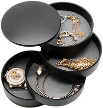 Organizador de jóias pequena caixa de jóias brinco titular para mulher caixa de armazenamento de jóias 4 camadas rotativo bandeja de armazenamento de jóias