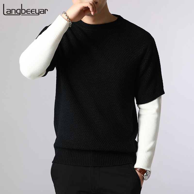 New Fashion Brand Sweater For Mens Pullovers Hip Hop Slim Fit Jumpers Knitwear Woolen Autumn Korean Style Casual Clothing Male