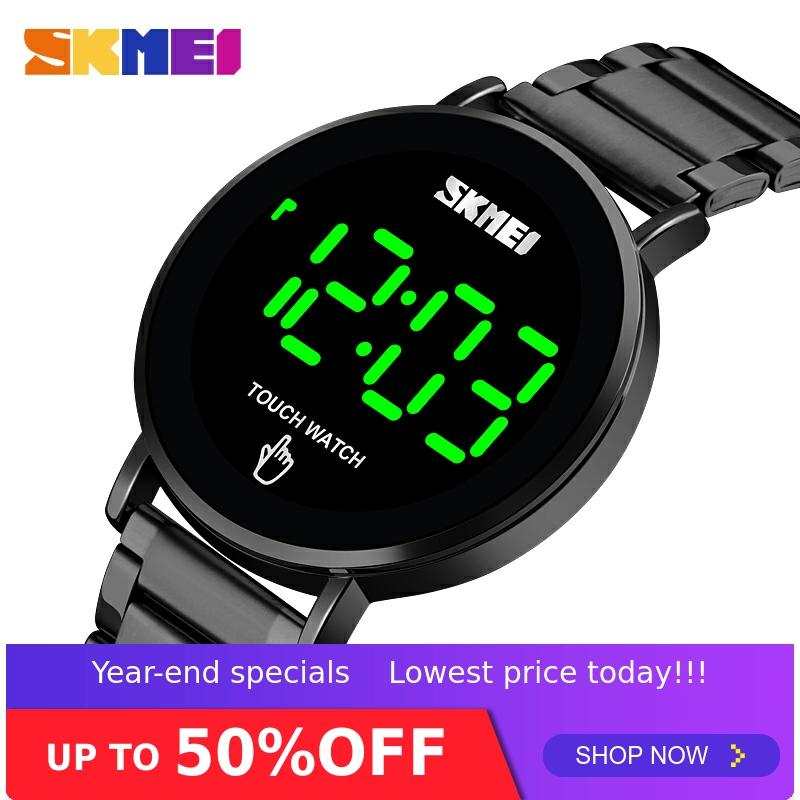 SKMEI Fashion Men Digital Watch Male Touch Screen LED Light Display 3bar Waterproof Stainless Steel Strap montre homme 1550