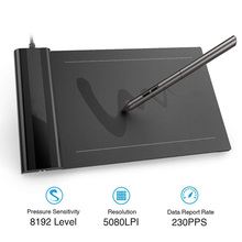 VEIKK S640 Graphic Pen tablet 6 x 4 inch Ultra Thin OSU New Digital Drawing Tablet with Passive Pen 8192 Levels Pressure Black
