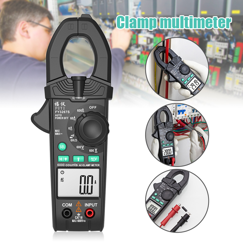 FY3267S Clamp Testers Portable Digital Clamp Meter 6000 Counts AC DC Current Clamp Multimeter PUO88