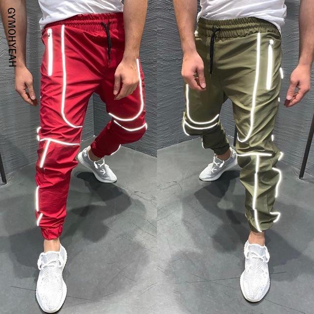 GYMOHYEAH الخريف جديد الشارع الشهير سراويل رياضية الرجال الهيب هوب Sweatpants رجل عارضة ركض للجنسين المتناثرة ركض Sweatpants