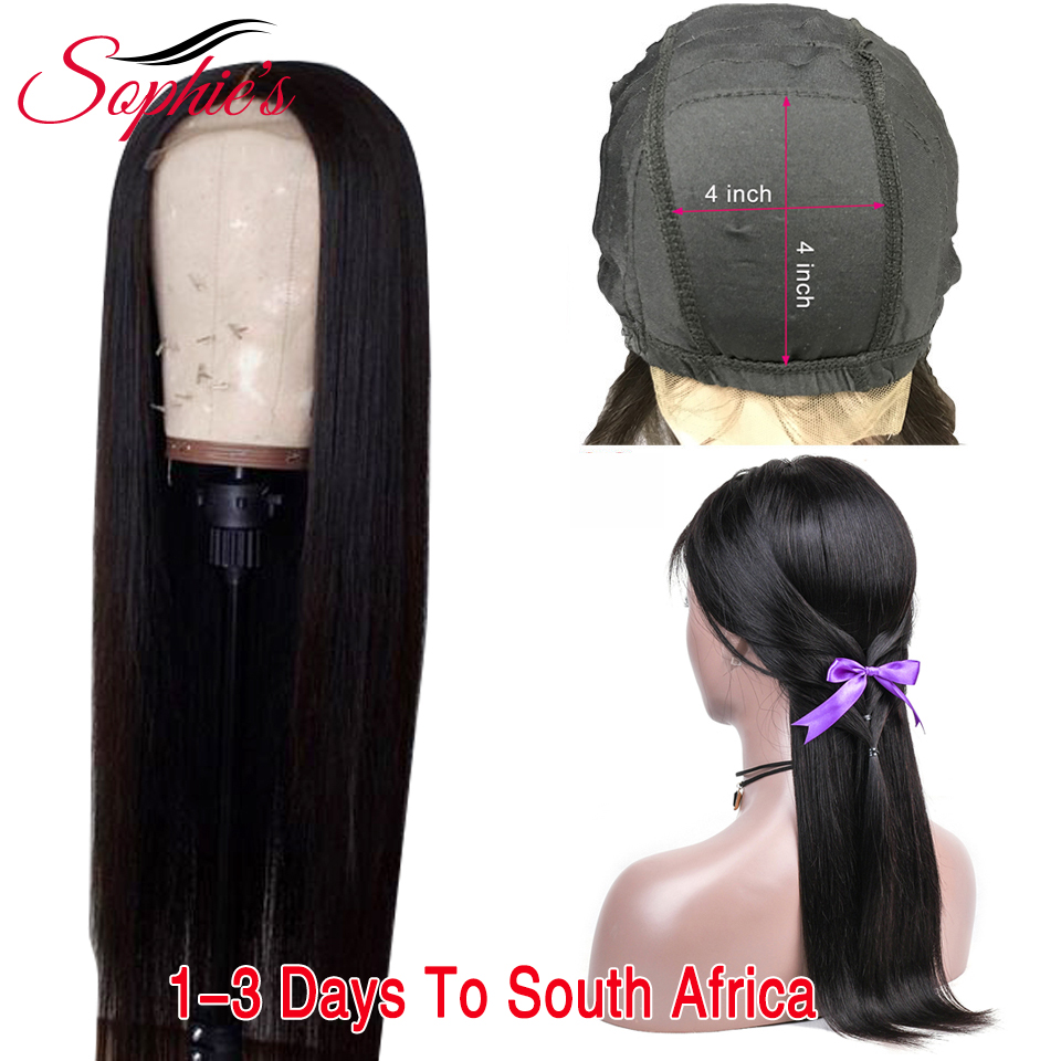 "Sophie's Brazilian 4*4 Lace Closure Human Hair Wigs Remy Hair Straight Lace Wigs With Baby Hair Lace Closure ""8-26""inches"