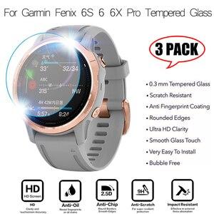 Image 1 - 3 pçs relógio inteligente película protetora para garmin fenix 5 5S plus 6 s 6 6x pro bordas redondas filme de vidro temperado premium protetor de tela