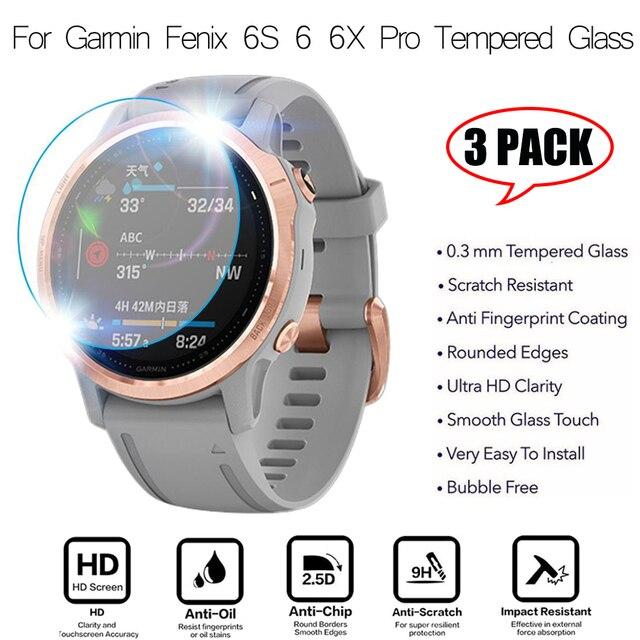 3 pçs relógio inteligente película protetora para garmin fenix 5 5S plus 6 s 6 6x pro bordas redondas filme de vidro temperado premium protetor de tela