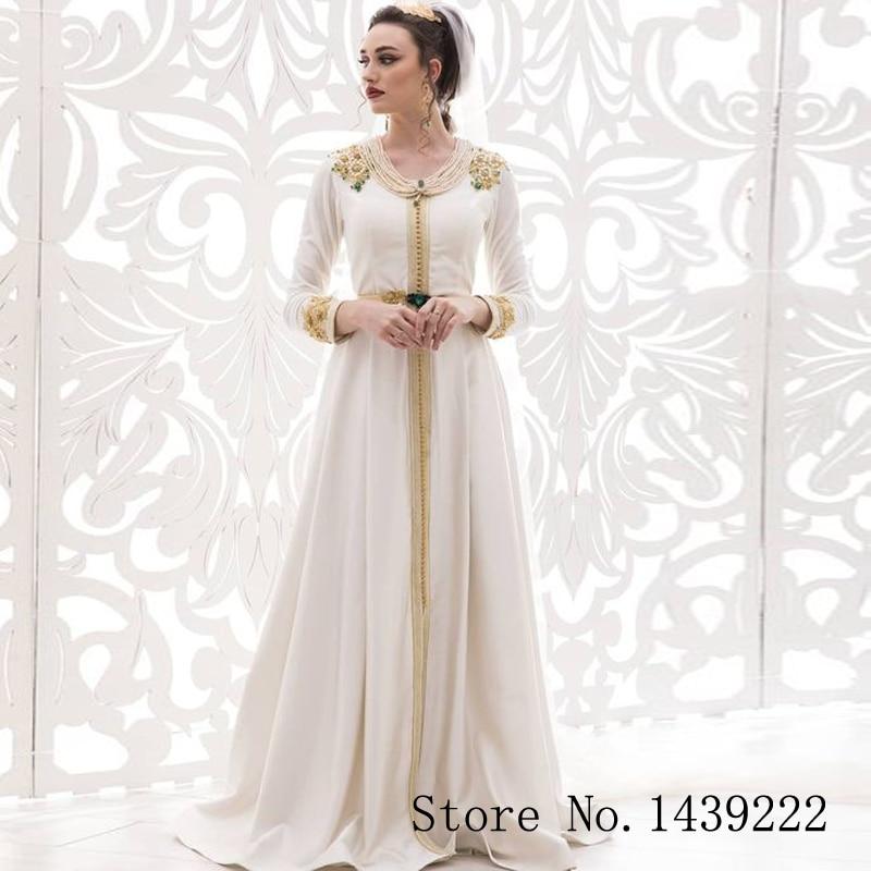 White Satin Dubai Evening Dresses Moroccan Kaftan Long Appliques Belt Saudi Arabic Muslim Special Occasion Party Plus Size