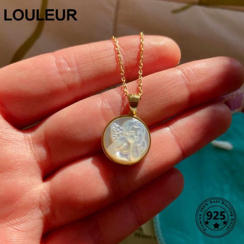 Louleur 925スターリングシルバーシェルエンジェルベイビーペンダントネックレスゴールドオリジナルラウンド西洋スタイルのネックレス女性ジュエリーギフト