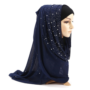 Image 5 - Nữ Bong Bóng Khăn Voan Choàng Cổ Tròn Đính Kim Cương Ngọc Trai Khăn Đồng Bằng Hijab Khăn Choàng Len Màu Hồi Giáo Hijab Khăn