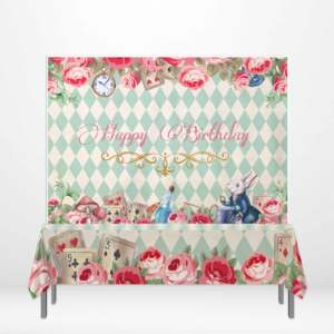 Allenjoy alicja w krainie czarów obrus kwiat poker dzwon królik Baby Shower baner urodzinowy tło DIY dziecko strona dekoracji