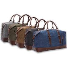 купить Unisex Canvas Travel Shoulder Luggage Bags Large Capacity Handbag Business Casual Vintage Leather Simple Tote Bag For Men по цене 2174.73 рублей