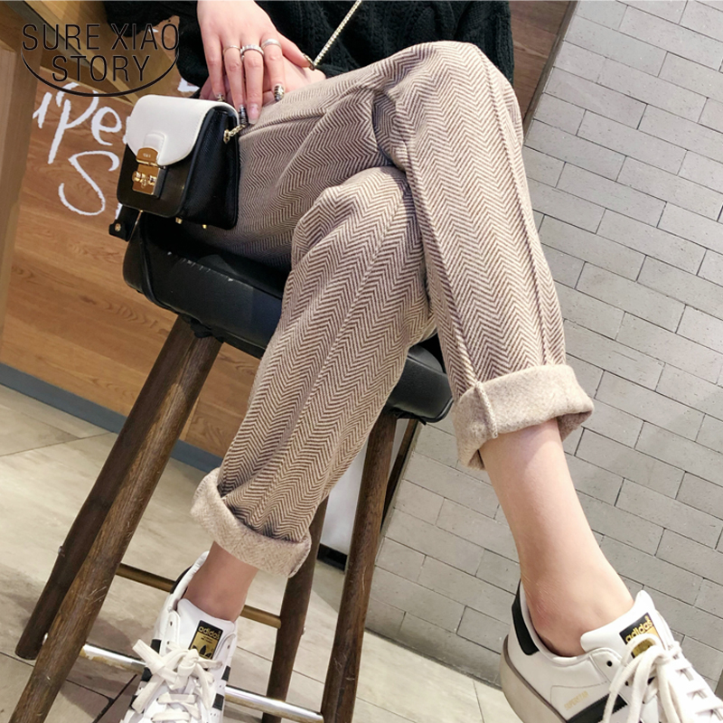 Autumn Winter Thicken Pants Women Elastic Waist Striped Woolen Female Pencil Pant 2019 Elegant Warm Long Trousers Femme 7930 50
