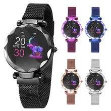 HI18 نساء سيدة ساعة ذكية جهاز تعقب للياقة البدنية سوار الإناث معدل ضربات القلب ضغط الدم رصد Smartwatch للهاتف Androi