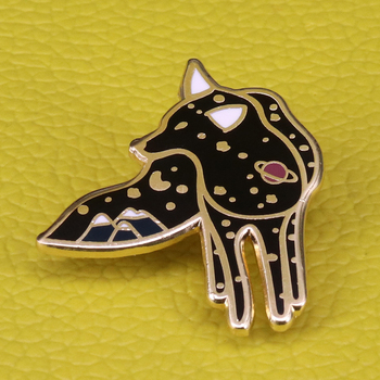 Cosmic fox brooch Filled with moon stars and planets, seems to represent the wild nature of universe itself, vast and mysterious image