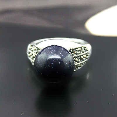 Homem/mulher 8mm azul areia pedra contas marcasite & 925 prata esterlina anel tamanho 7/8/9/10