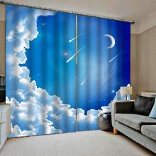 Luxury Blackout 3D Window Curtains For Living Room Bedroom blue sky moon cloud curtains blackout curtain customized size luxury blackout 3d window curtains for living room animal curtains kids curtain