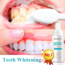BAIMISS Teeth Whitening Mousse Toothpaste Dental Tools Oral Hygiene Tooth White Cleaning Gel Removes Plaque Stains Bad Breath