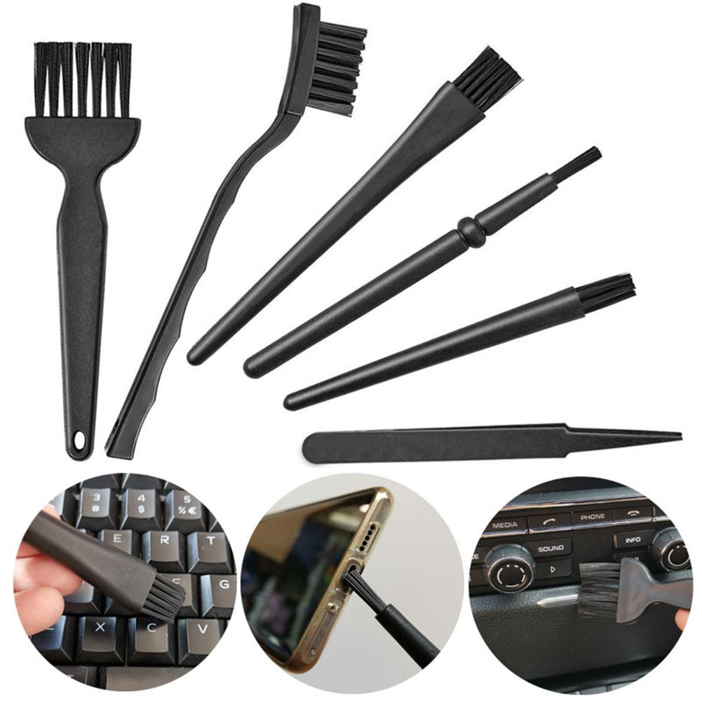 6Pcs Plastic Portable Handle Anti Static Cleaning Keyboard PCB Gaps Brushes Computer Cleaning Tool Computer Accessories Air Dust