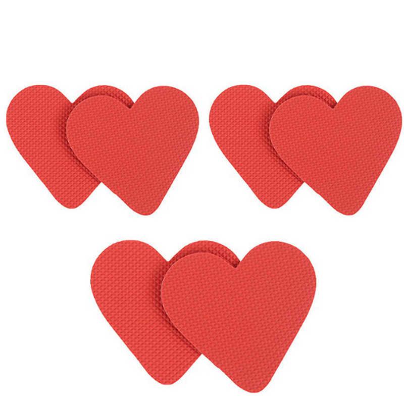 2 stks/paar Duurzaam hartvorm Antislip Sticker Vinyl Hars Anti Slip Zool Schoen Protector Pads Inlegzolen Zelfklevende kussen