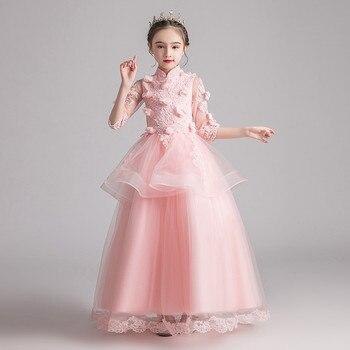Korean Sweet Children Girls Appliques Flowers Birthday Wedding Party Princess Mesh Dress Baby Kids Host Piano Costumes Lace Wear