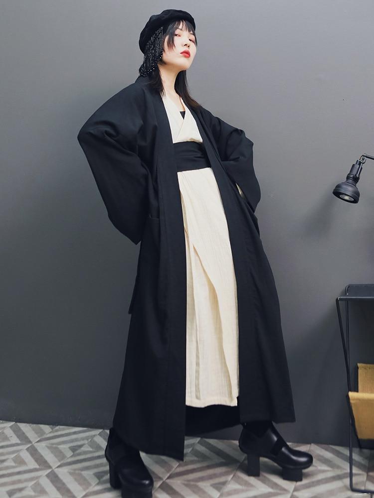 [LANMREM] 2020 Spring New Fashion V Collar Dress With Belt + Outwear Cloth Cotton Linen Straps Hanfu Three-piece Set Women PA198