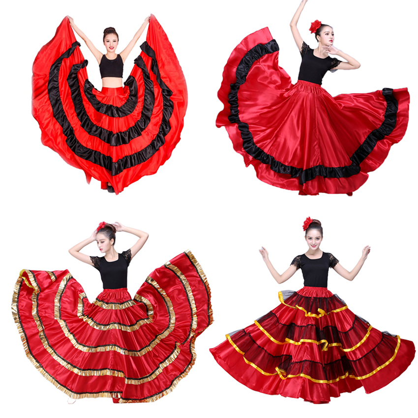 Gypsy Woman Spanish Flamenco Skirt Polyester Satin Smooth Big Swing Carnival Party Ballroom Belly Dance Costumes Dress
