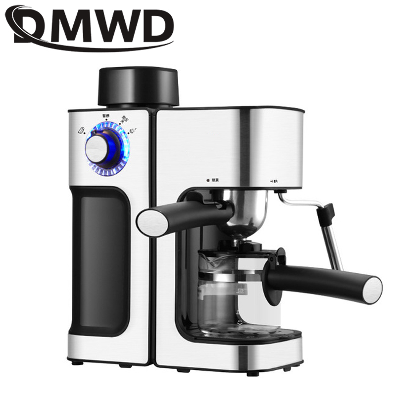 DMWD MINI Espresso Coffee Steam Milk Foam Bubble Machine Semi-Automatic Multifunction Cappuccino Cafe Coffee Maker Italian 5Bar
