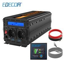 EDECOA power inverter 3000W AC 220V 230V 240V DC 12V modified sine wave with 5V 2.1A USB LCD display and remote controller