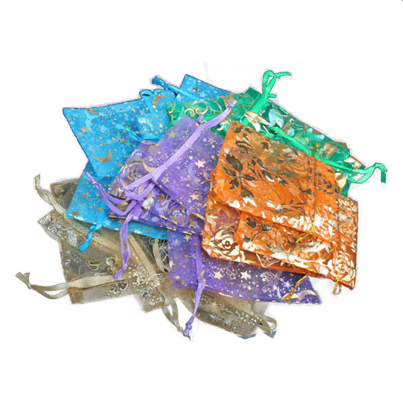 50 Pcs Mini Drawstring Organza Jewelry Pouch Gift Bags For Wedding Candy Pendant