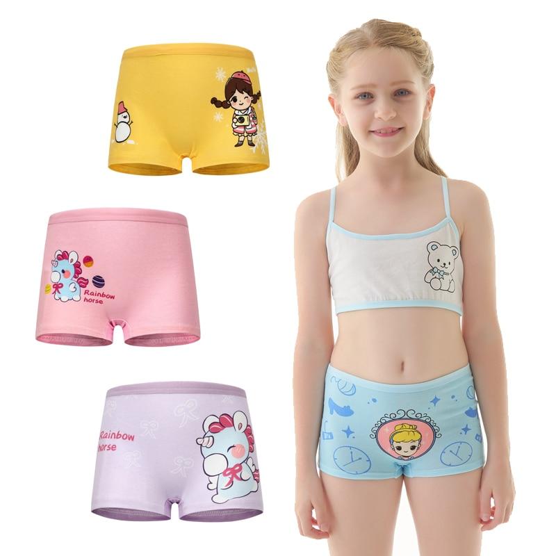 Underwear Boxer Training-Pants Girls Panties Kids Children Printed Cotton Cartoon 4pcs/Lot