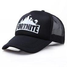 Fortnite-gorra de béisbol de malla ajustable para hombre y mujer, sombrero de sol ajustable para exteriores, gorra de tenis blanca y negra para estudiantes, regalo para niños