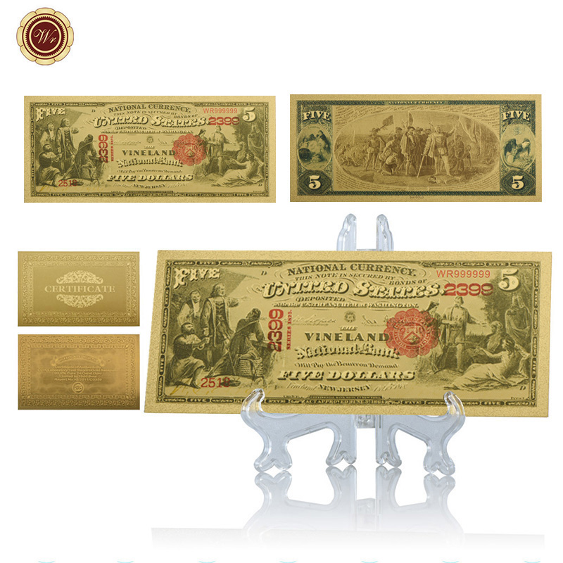 WR США 5 долларовые банкноты из золотой фольги банкноты с пластиковой подставкой Поддельные Банкноты 5 долларов США реквизит деньги уникальн...