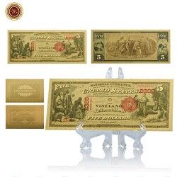 Фальшивые банкноты WR США, 5 цветов, с пластиковой подставкой, 5 долларов США, американский реквизит, уникальные подарки, Прямая поставка