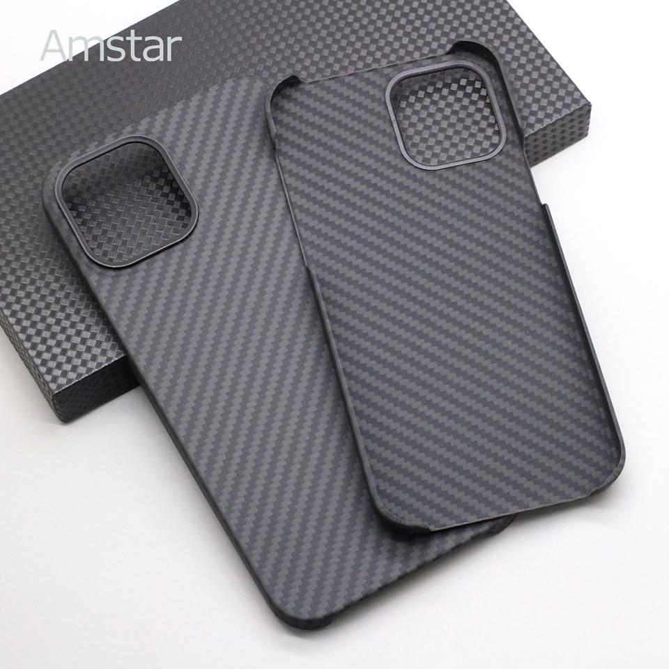 Amstar meio-envolto caso de telefone de fibra de carbono para iphone 12 pro max ultra-fino puro capa de fibra de carbono casos para iphone 12 mini