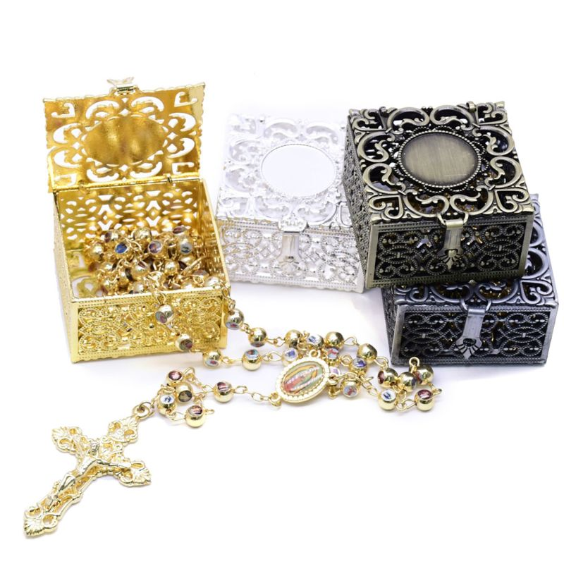 Rosary Bead Box Necklace Metal Christian Catholic Religious Jewelry Case Storage