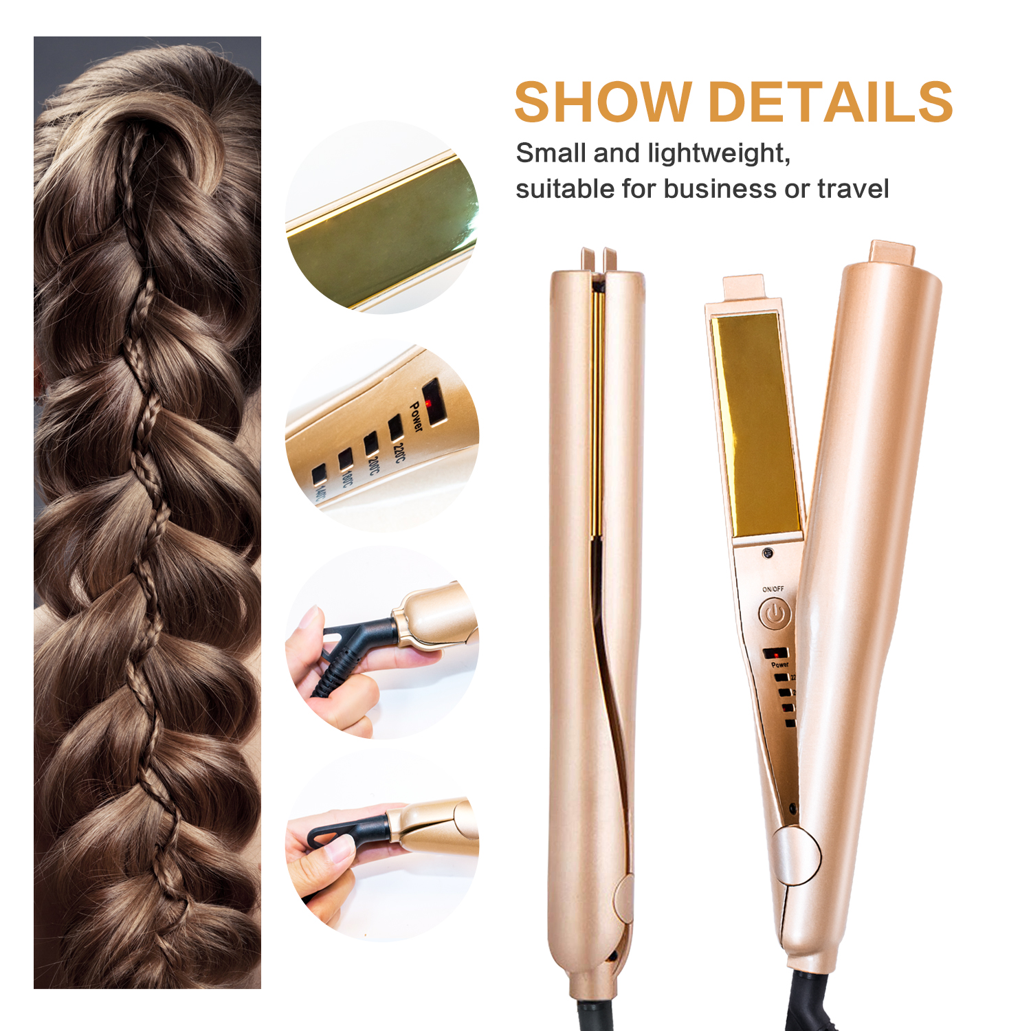 2 In 1 Gold Titanium Flat Iron Twist Hair Curling & Hair Straightener Irons Styling 1 Inch Straightening & Curls Hair Care Tool