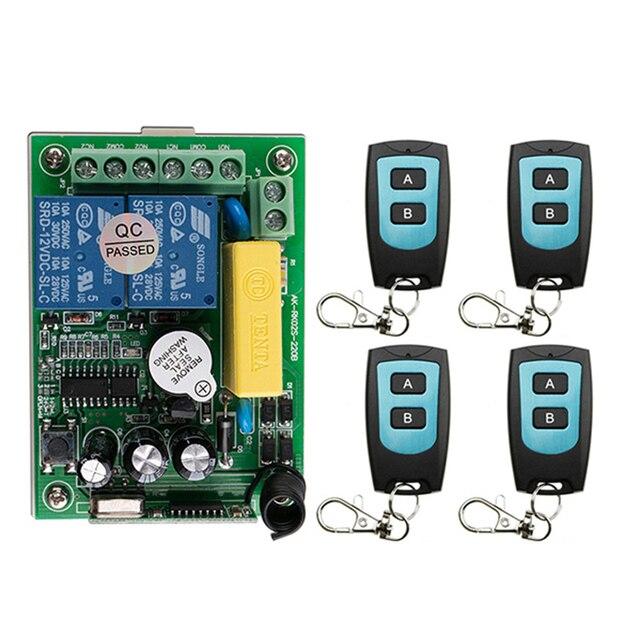 AC 220V 2 채널 채널 2CH RF 무선 원격 제어 스위치 원격 제어 시스템 수신기 송신기 1CH 릴레이 315/433 MHz