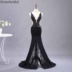 Erosebridal сексуальное просвечивающее платье русалки для выпускного вечера длинное черное кружевное вечернее платье с глубоким v-образным выре...